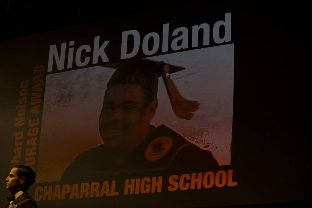 Chaparral's Nick Doland receives the Richard Nelson Courage Award during the Best Of N ...