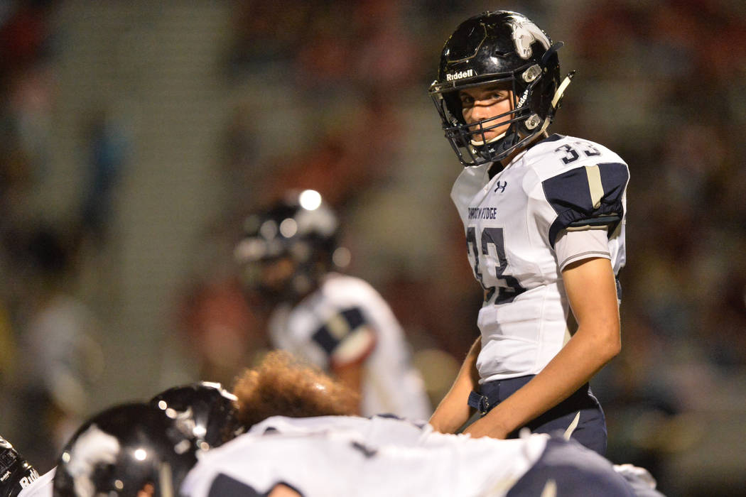 Shadow Ridge quarterback Kody Presser (33) looks to his sideline during the Arbor View High ...