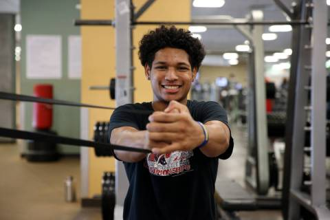 Daishen Nix, 16, during a fitness training session with his basketball team at YMCA, 4141 Me ...
