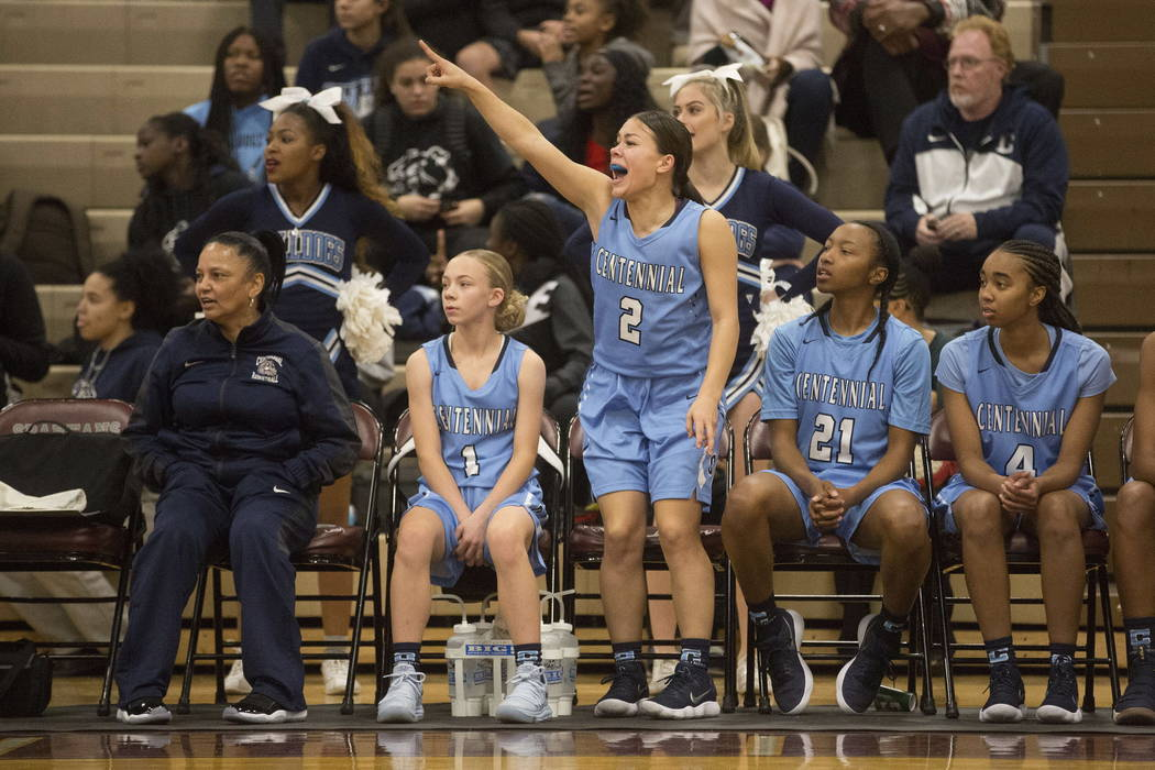 Centennial basketball player Melanie Isbell (2) stands to cheer on a teammate with Justice E ...