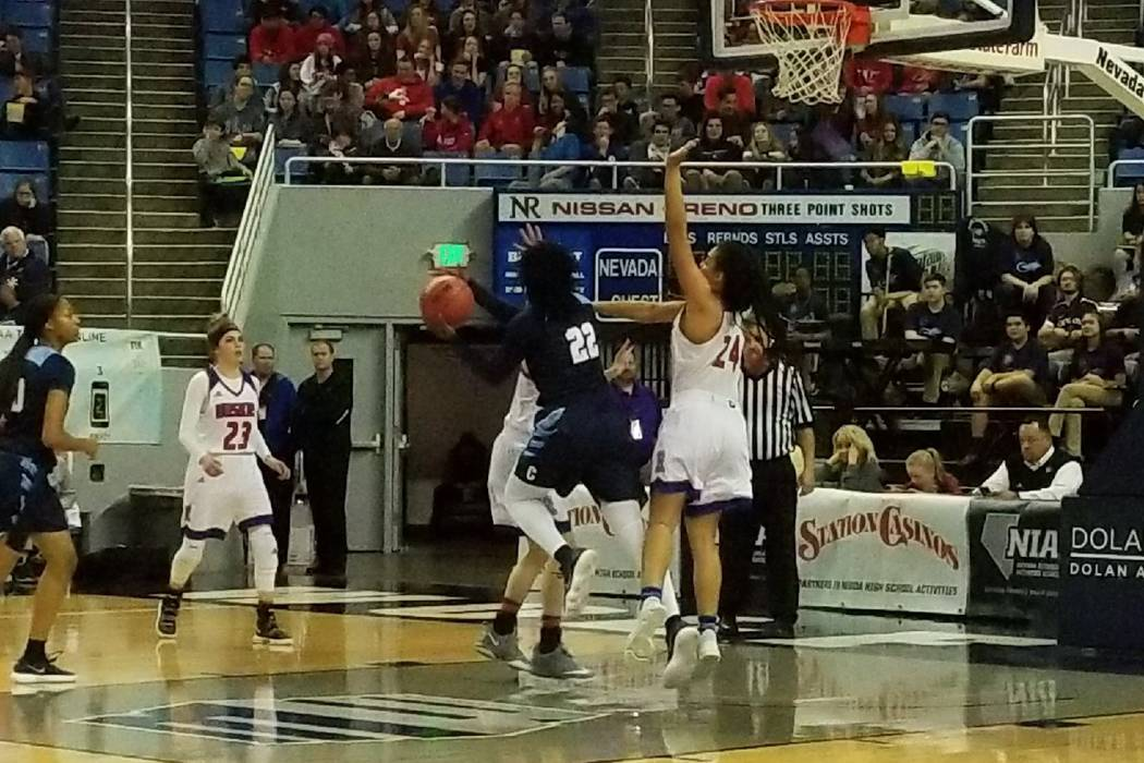 Eboni Walker drives the lane against Reno on Thursday, Feb. 22, 2018 at Lawlor Events Center ...