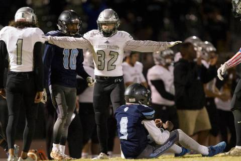 Green Valley's Braxton Harms (32) reacts to the last play of the game against Canyon S ...