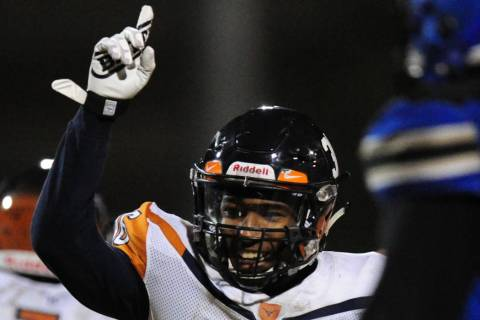 Legacy running back Amorey Foster celebrates a touchdown against Sierra Vista in the first h ...