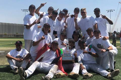 The Desert Oasis Aces celebrate their American Legion Western Regional championship on Aug. ...