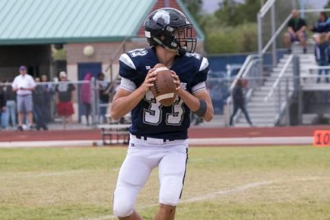 Shadow Ridge quarterback Kody Presser (33) looks for the open receiver against Arbor View du ...