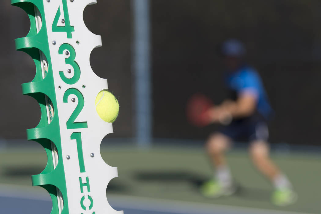 A score post is seen at Darling Tennis Center in Las Vegas, Saturday, Oct. 15, 2016. Jason O ...