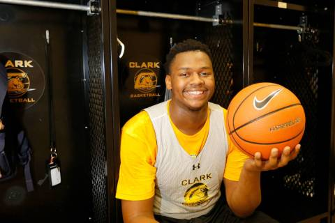 Clark forward-center Antwon Jackson, in the locker room at Clark High School in Las Vegas, T ...