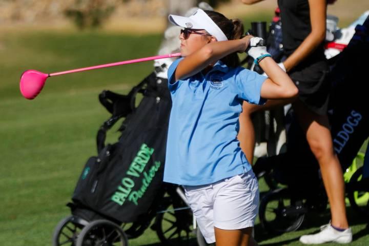 CentennialÕs McKenzi Hall watches her tee shot during the Class 4A state girls golf tou ...