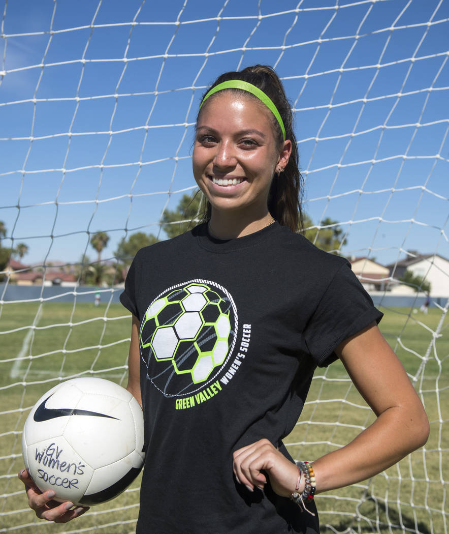 Green Valley's Taylor O'Neill, 17, poses for a photograph during team practice a ...