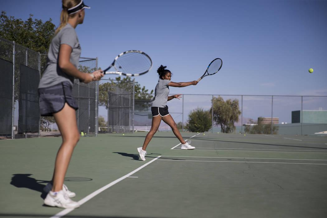 Priya Raju, 14, during a team tennis practice at Palo Verde High School in Las Vegas, Wednes ...