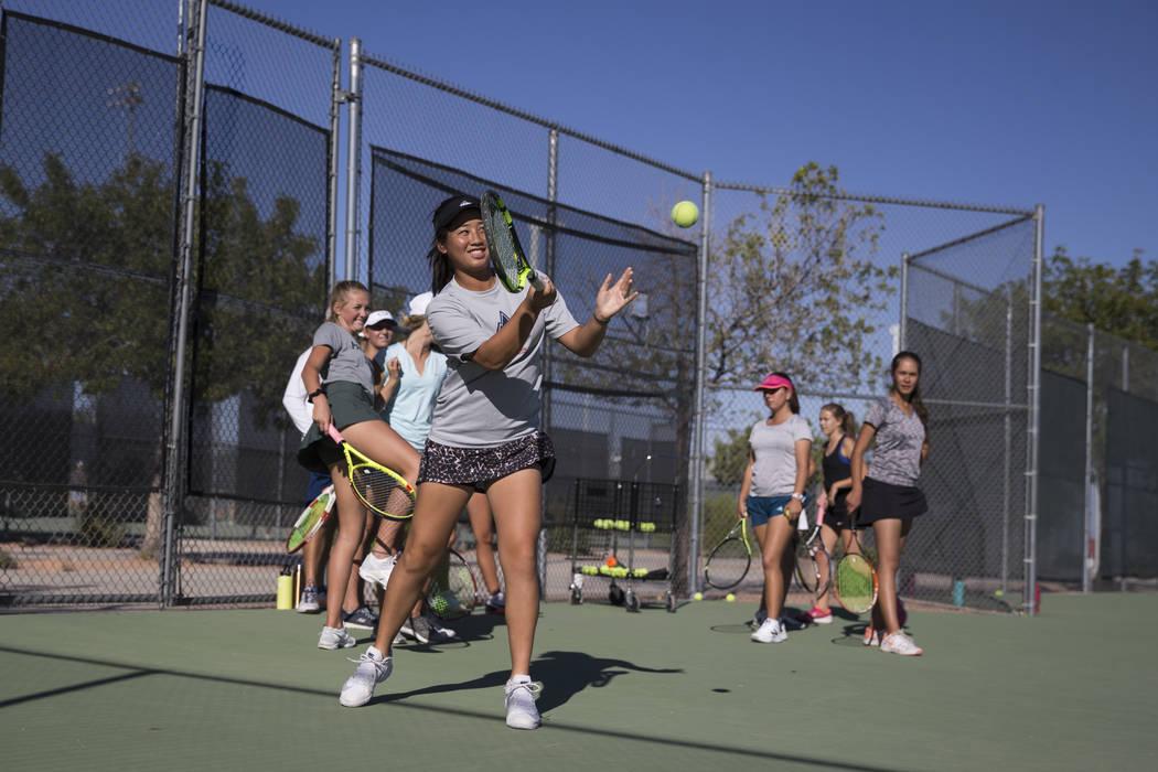 Caroline Hsu, 15, during a team tennis practice at Palo Verde High School in Las Vegas, Wedn ...