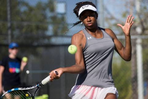Kaya Richardson, 15, during a team tennis practice at Palo Verde High School in Las Vegas, W ...