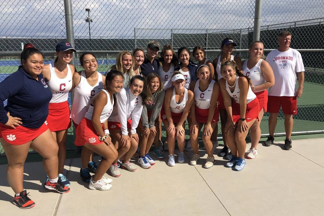 Coronado girls tennis players pose after their 13-5 victory over Palo Verde for the Southern ...