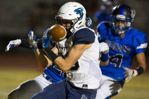 Foothill wide receiver Braeden Wilson (28) makes a catch for a touchdown past Basic defender ...