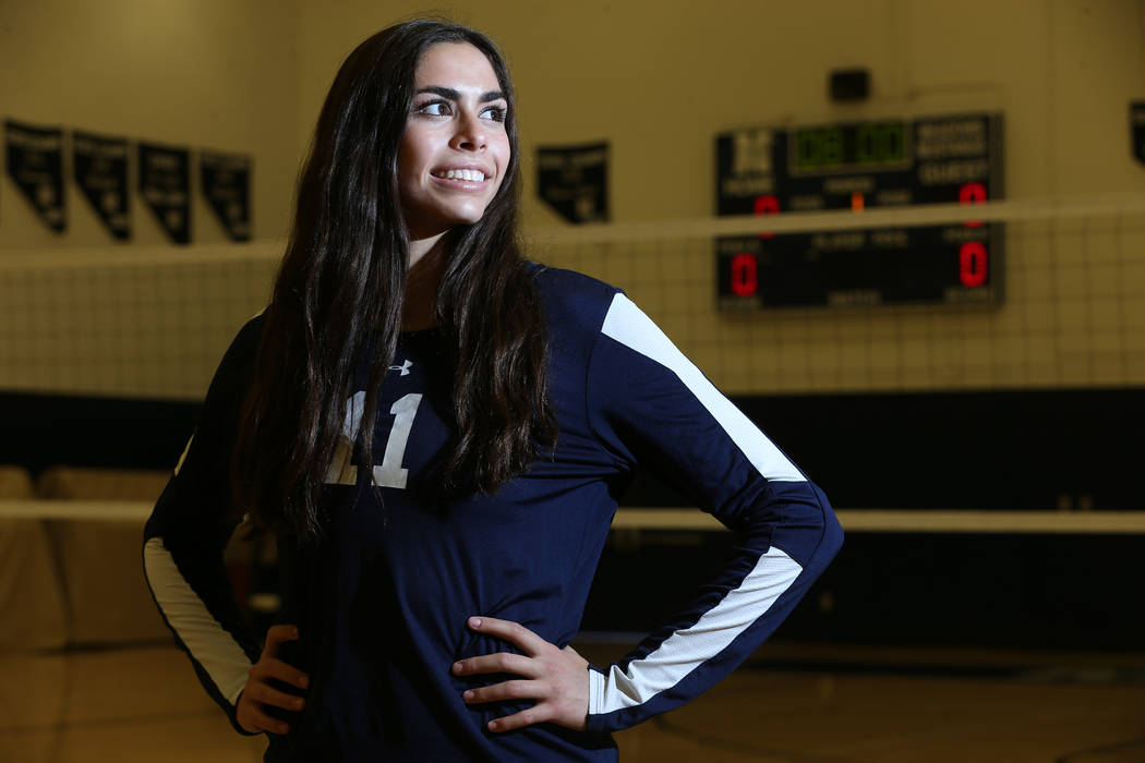 Dani Mason, 18, captain for The Meadows girl's varsity volleyball team, poses for a po ...