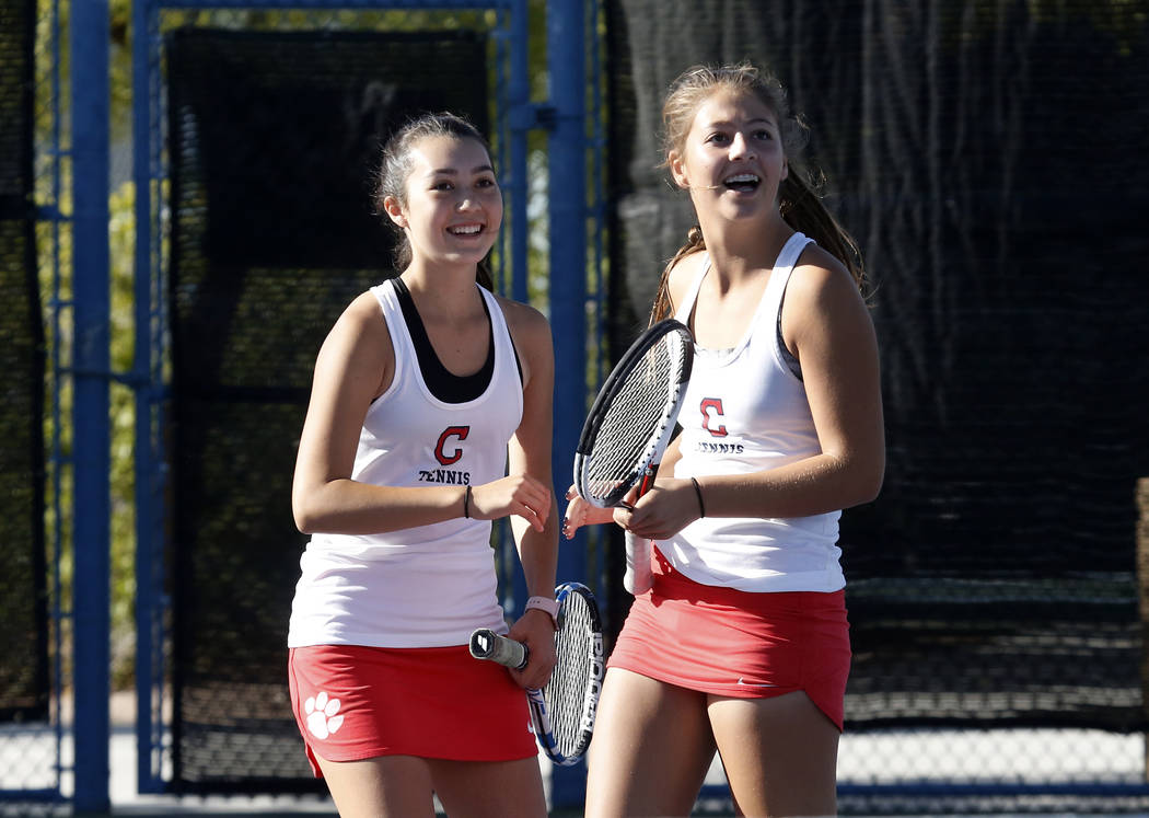 Coronado High's Sidra Wohlwend, left, and Ava Nhaisi celebrate their 6-3 win against B ...