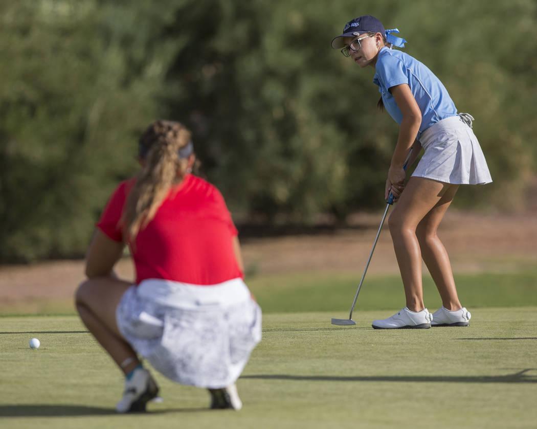 Centennial sophomore McKenzi Hall putts at Stallion Mountain Golf Club on Wednesday, Oct. 10 ...