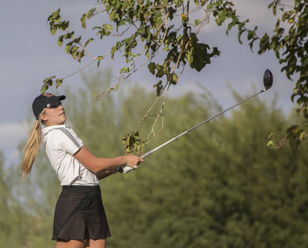 Faith Lutheran sophomore Gracie Olkowski drives the ball at Stallion Mountain Golf Club on W ...