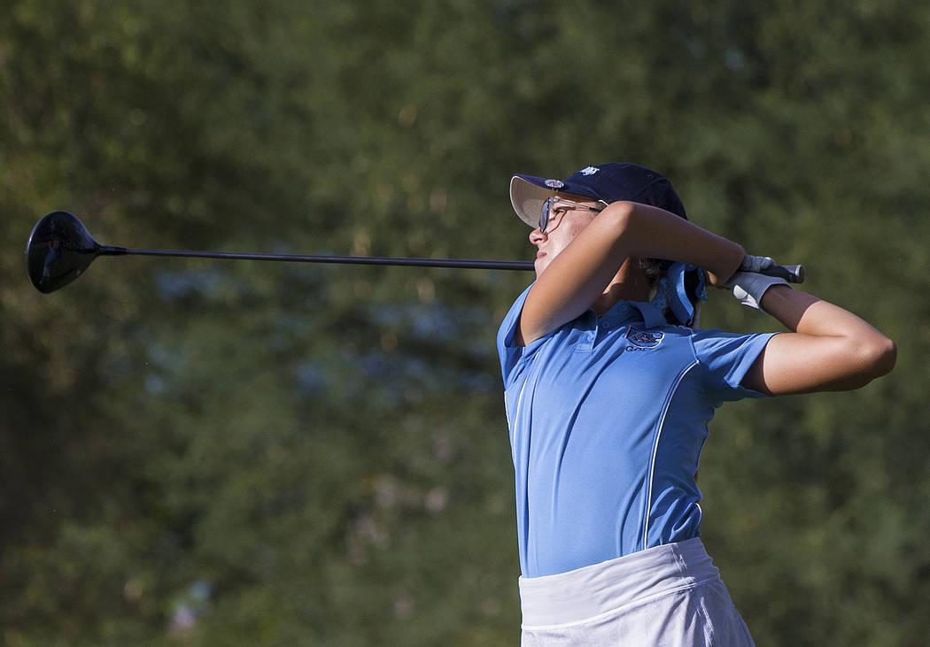 Centennial sophomore McKenzi Hall drives the ball at Stallion Mountain Golf Club on Wednesda ...