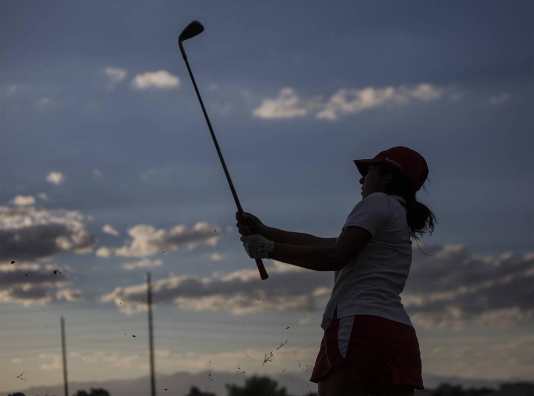 Coronado's Victoria Estrada chips onto the green at Stallion Mountain Golf Club on Wed ...