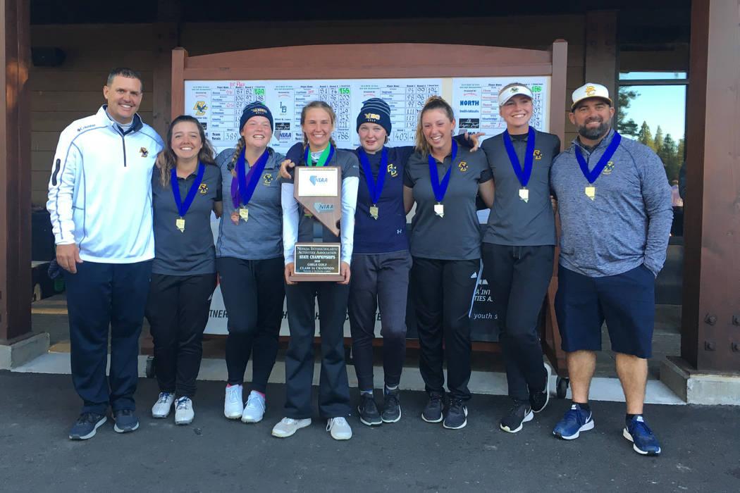 Boulder City girls golfers celebrate winning the Class 3A state championship at Schaffer&#82 ...