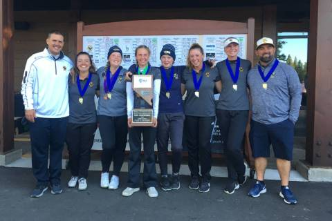 Boulder City girls golfers celebrate winning the Class 3A state championship at Schaffer&#82 ...