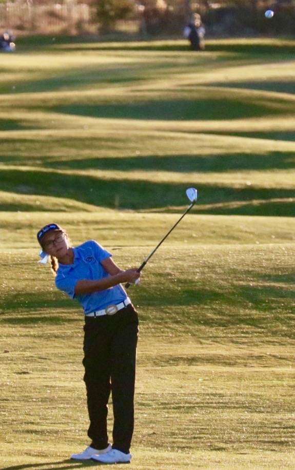 Centennial's McKenzi Hall takes a shot during the Class 4A state golf tournament at Da ...