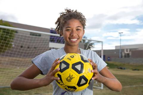 Durango senior soccer player Laila Loring poses before practice at Durango High School in La ...