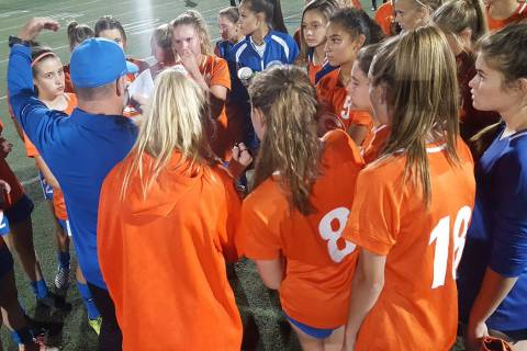 Bishop Gorman coach Doug Borgel addresses his team after its 7-0 senior-night win over Coron ...