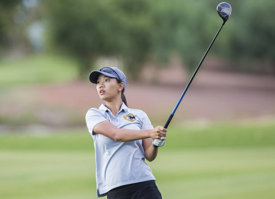 Clark sophomore Riana Mission drives the ball at Stallion Mountain Golf Club on Wednesday, O ...