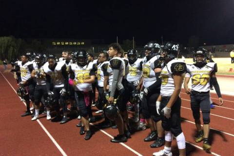 Clark players celebrate their win over Desert Oasis on Friday. (Tim Guesman/Las Vegas Review ...