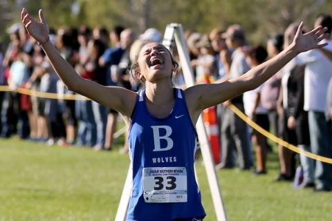 Basic High senior Raquel Chavez wins the 4A Desert girls region race at Veteran's Memo ...