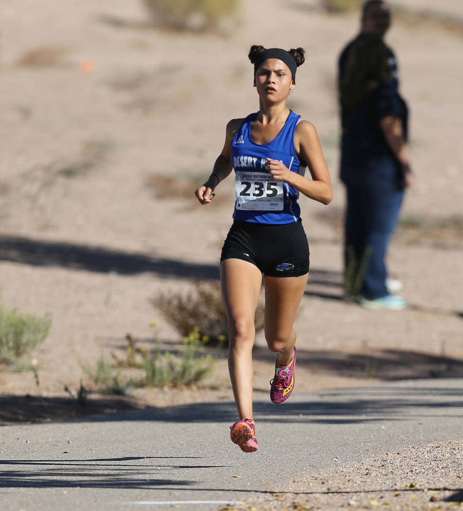 Desert Pines junior Jazmin Felix leads the 4A Mountain girls cross country region race at Ve ...