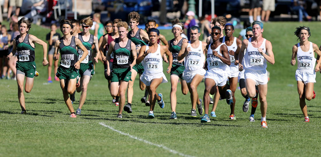 Runners at the start of the 4A Mountain boys cross country region race at Veteran's Me ...