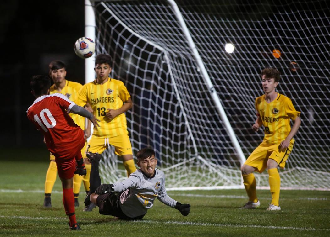 Clark High School's goalkeeper saves a goal against Tech at the Bettye Wilson Soccer C ...
