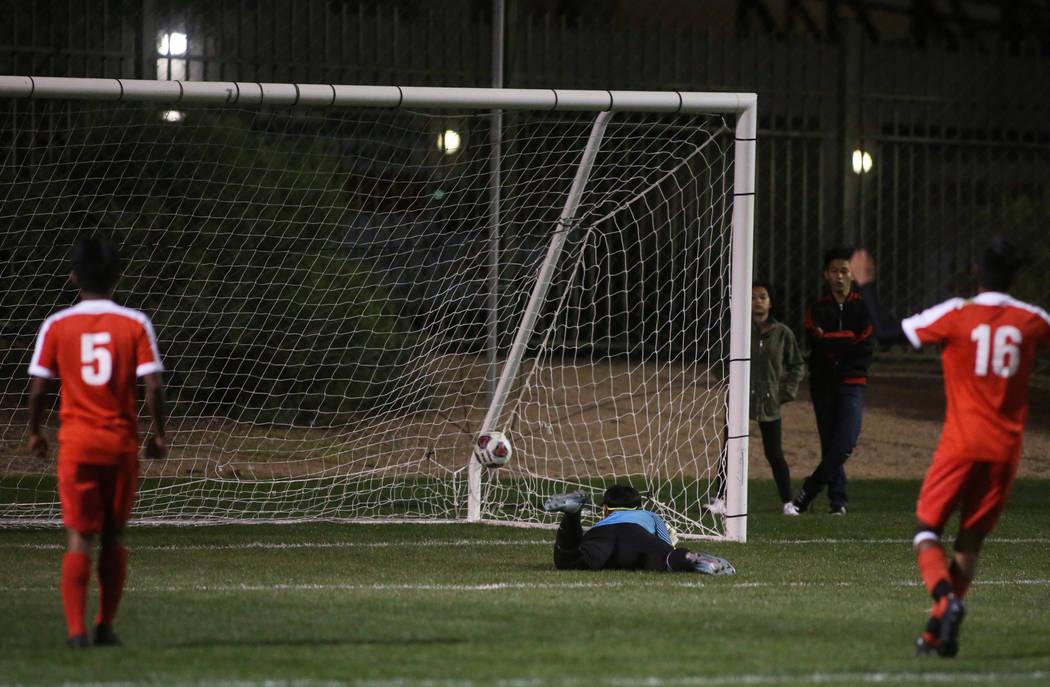 Clark High School scores a goal on Tech's Yobani Garcia-Benitez at the Bettye Wilson S ...