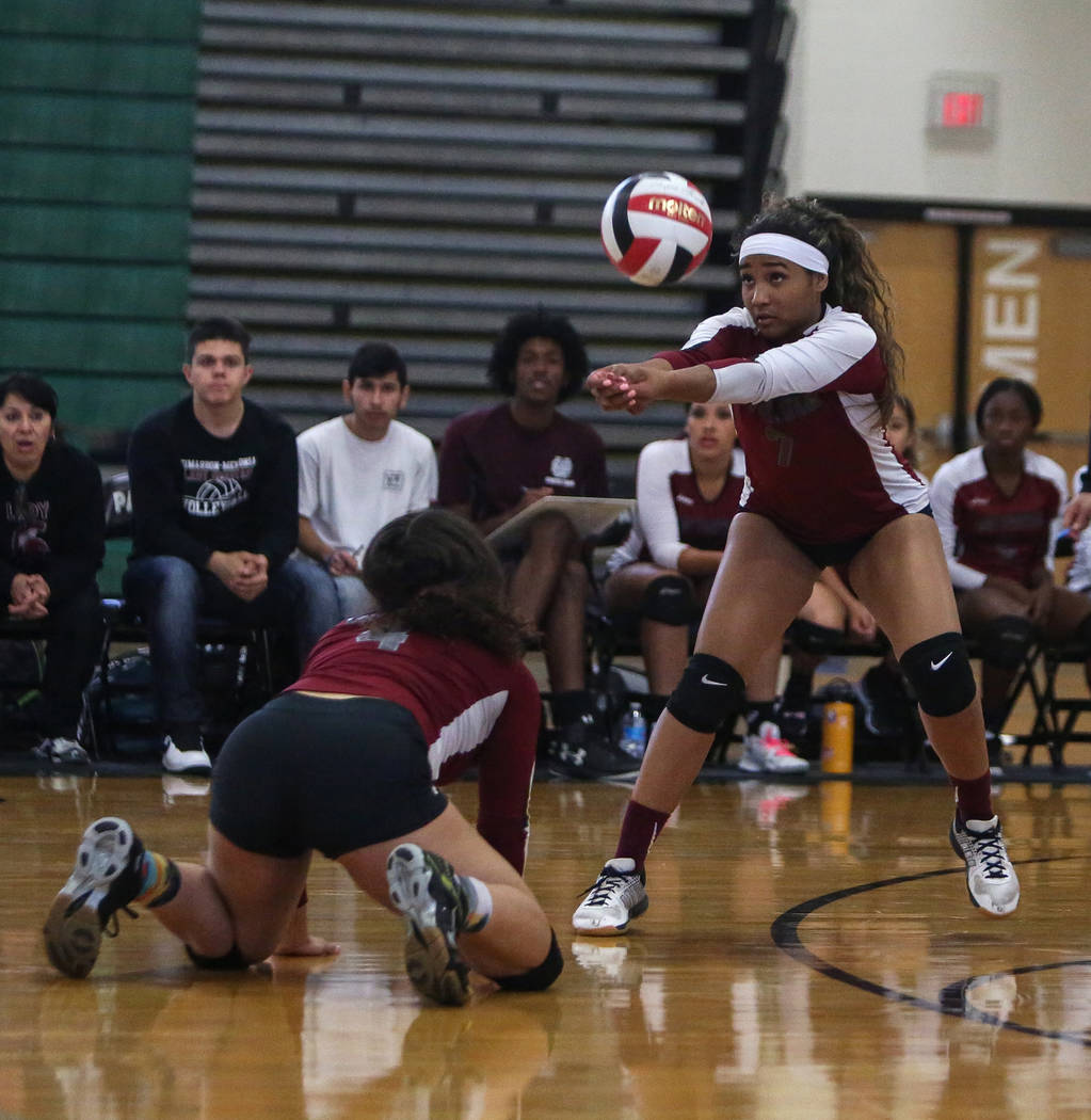 Cimarron Memorial High School's Mya'Liah Bethea hits the ball during a point aga ...