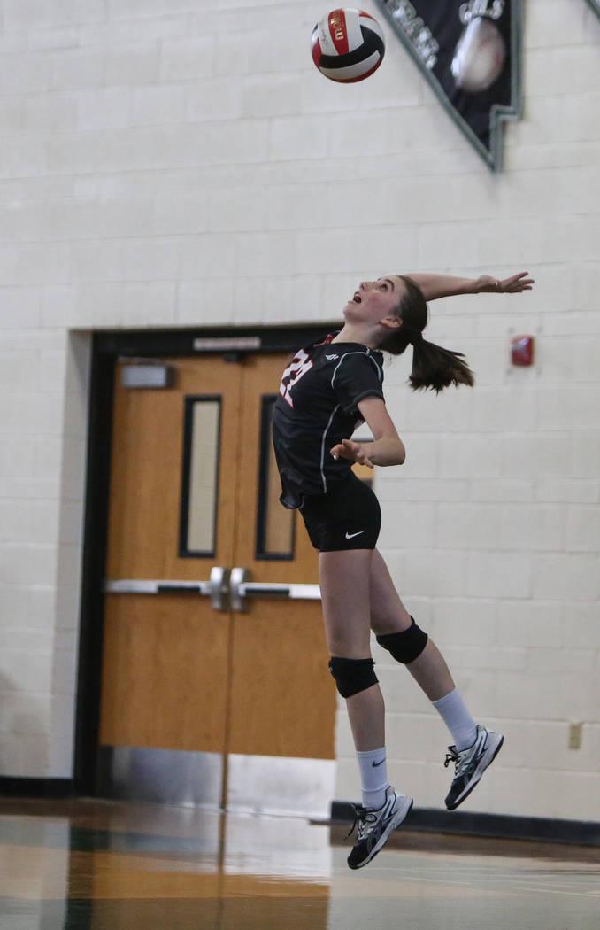 Las Vegas High School's Nicole Velez serves the ball in a game against Cimarron Memori ...