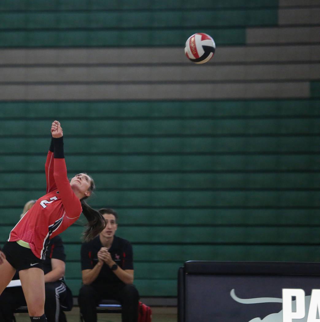 Las Vegas High School's Skyla Faught returns the ball in a game against Cimarron Memor ...