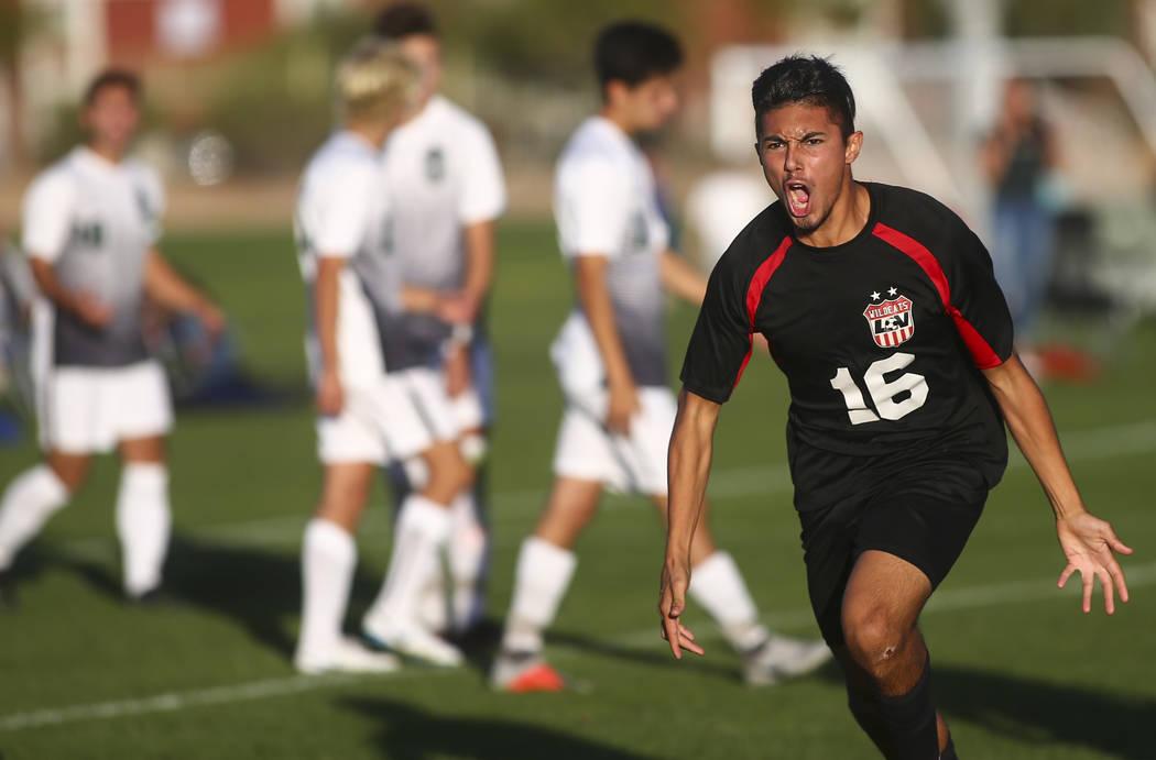 Las Vegas' Nathan Zamora (16) celebrates his goal against Palo Verde during the Mounta ...