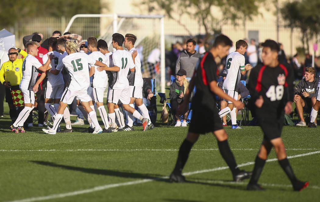 Palo Verde players celebrate a goal against Las Vegas during the Mountain Region boys soccer ...