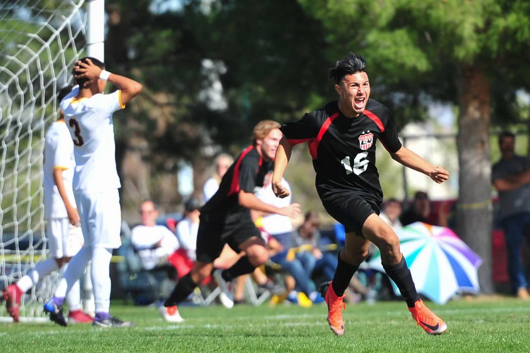 Las Vegas High School's Nathan Zamora (16) celebrates the second goal of the 3A Mounta ...