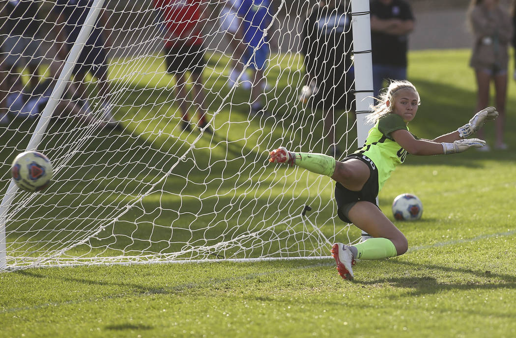 Coronado's Taylor Book gives up the game ending goal from Bishop Gorman in a penalty s ...
