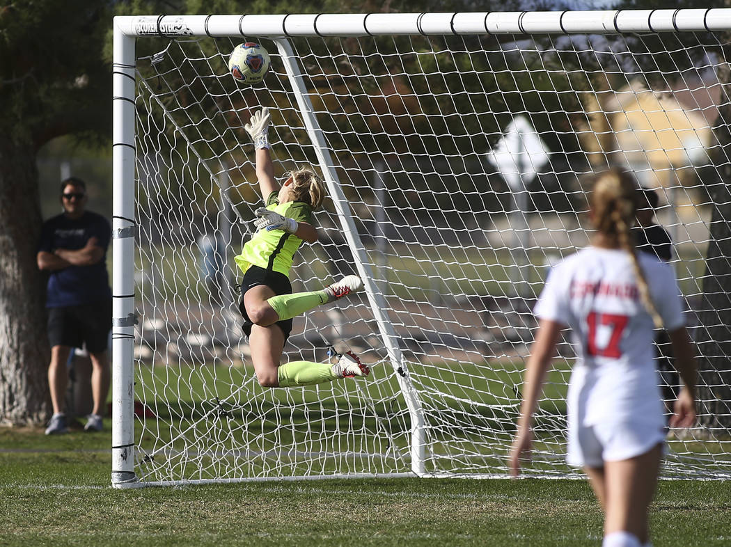 Coronado's Taylor Book gives up a goal to Bishop Gorman in the final moments of the De ...