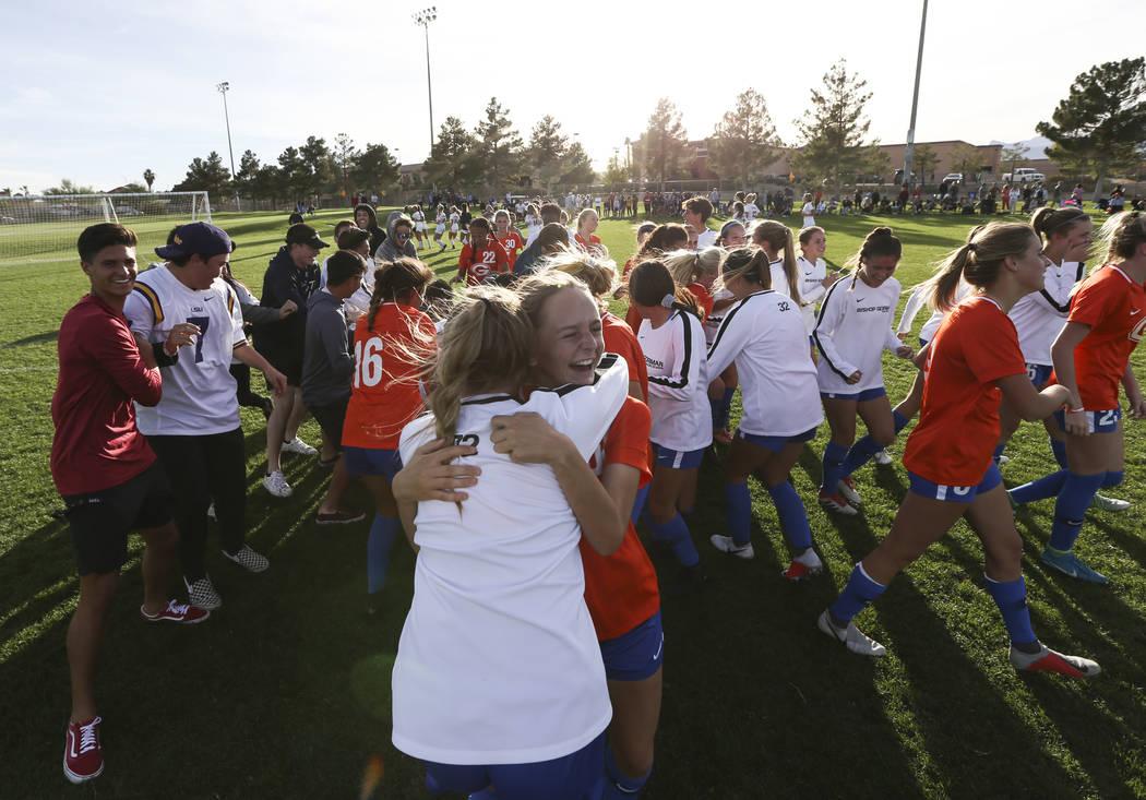 Bishop Gorman players celebrate their win over Coronado in the Desert Region girls soccer ch ...