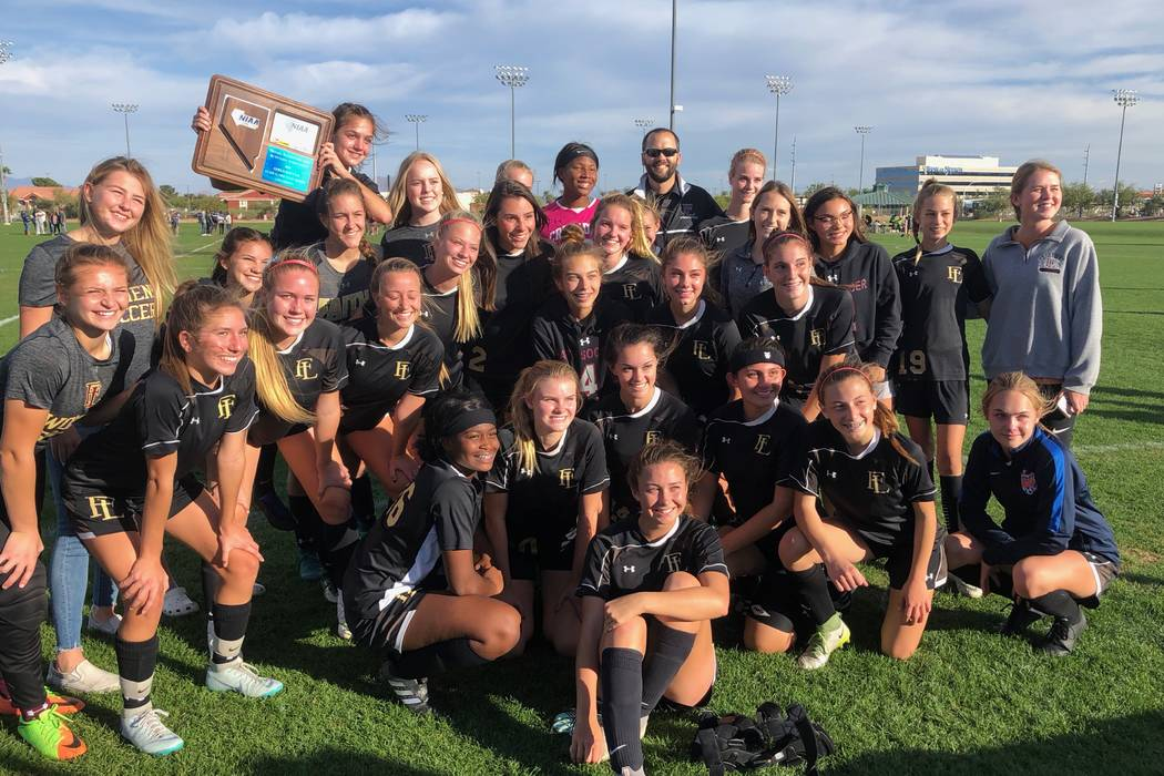 Faith Lutheran's girls soccer team celebrates winning the Mountain Region championship ...