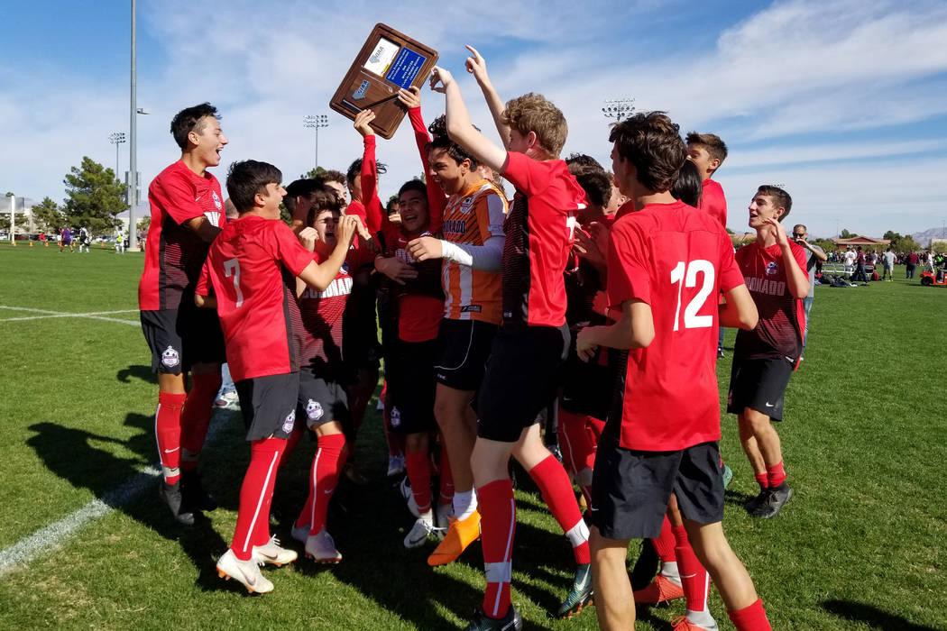 Coronado players celebrate their 3-0 victory over Durango in the Class 4A Desert Region cham ...