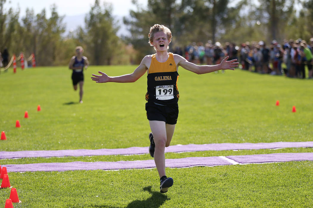 Matthew Gordon (199), a 16-year-old sophomore from Galena High School in Reno, runs for firs ...