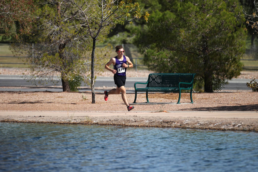 Spanish Springs' Daniel Horner (377) runs during the NIAA 4A Boys Cross Country State ...