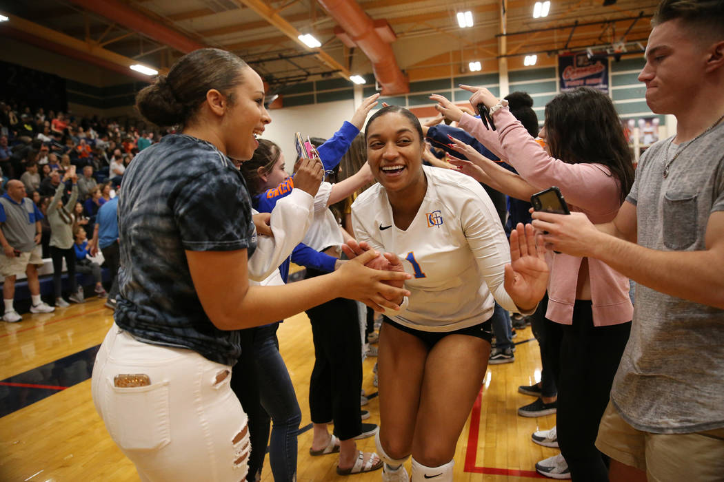 Bishop Gorman Alexandria Washington (1) celebrates with her team after their victory 3-0 aga ...
